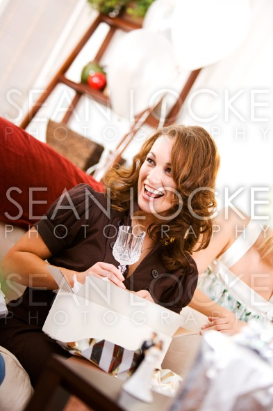 Bridal Shower: Woman Gets Crystal Stemware Stock Photography Content by Sean Locke