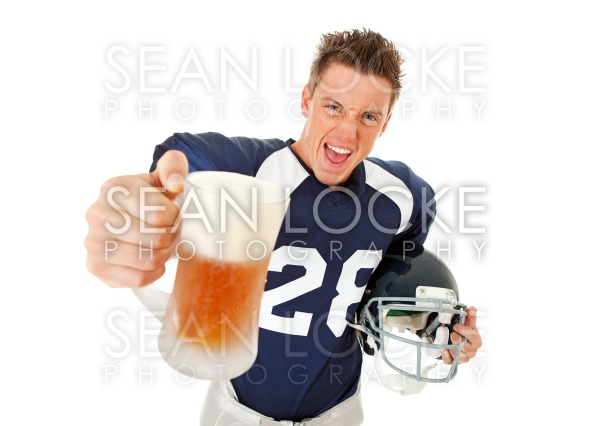 Football: Player Making Toast with Beer Stock Photography Content by Sean Locke