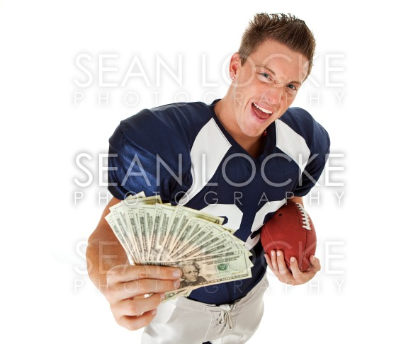 Football: Player with Fanned Money and Ball Stock Photography Content by Sean Locke
