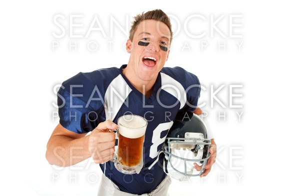 Football: Laughing Player with Beer Stock Photography Content by Sean Locke