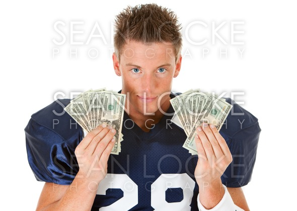Football: Holding Fanned Out Cash Stock Photography Content by Sean Locke
