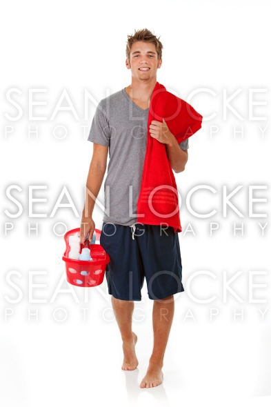 Student: Student Heading to Shower at College Stock Photography Content by Sean Locke