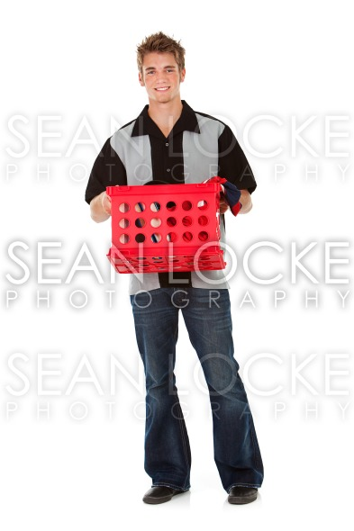 Student: College Student with Crate of Stuff Stock Photography Content by Sean Locke