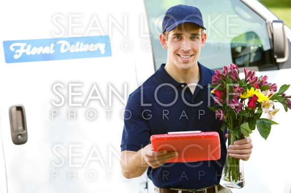 Delivery: Man Ready to Deliver Flowers Stock Photography Content by Sean Locke