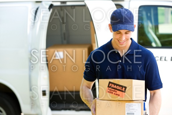 Delivery: Standing By Van with Boxes Stock Photography Content by Sean Locke
