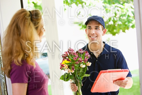 Delivery: Dropping Off Floral Arrangement Stock Photography Content by Sean Locke