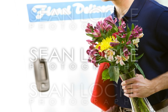 Delivery: Dropping Off a Floral Arrangement Stock Photography Content by Sean Locke