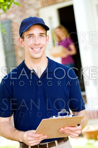 Delivery: Cheerful Delivery Man Stock Photography Content by Sean Locke