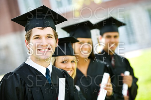 Graduation: Line of Smart Students Stock Photography Content by Sean Locke