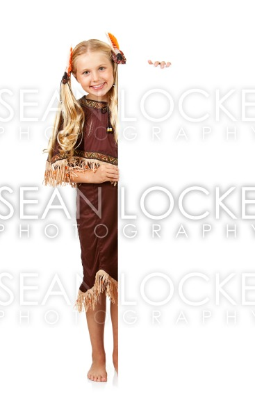 Thanksgiving: Indian Girl Standing Behind White Card Stock Photography Content by Sean Locke