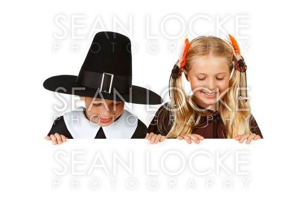 Thanksgiving: Pilgrim and Indian Look Down Stock Photography Content by Sean Locke