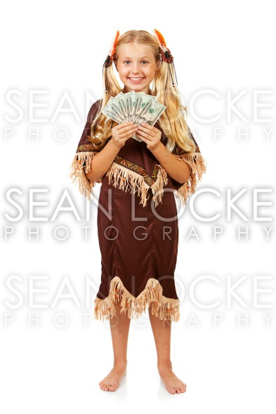 Thanksgiving: Indian Holding Money Fan Stock Photography Content by Sean Locke