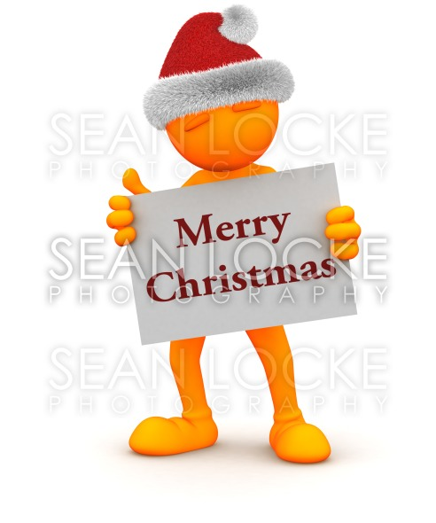 Orange Guy: Holding Merry Christmas Sign Stock Photography Content by Sean Locke