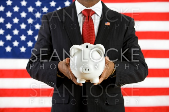Politician: Saving Money in a Bank for the Future Stock Photography Content by Sean Locke