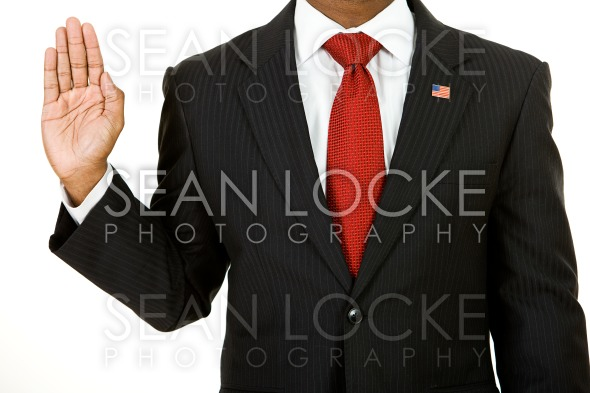 Politician: Anonymous Policitician Gives Oath Stock Photography Content by Sean Locke