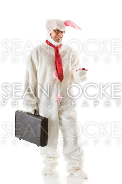 Bunny: Bunny Man Reads a Text Message Stock Photography Content by Sean Locke