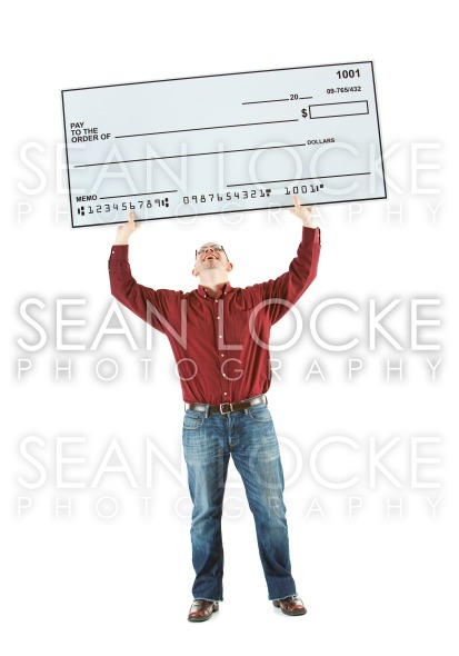 Check: Man Holds Huge Check Overhead Stock Photography Content by Sean Locke