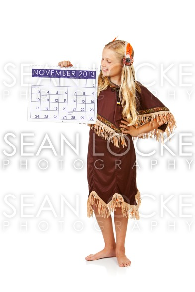 Thanksgiving: Indian Girl with November Calendar Stock Photography Content by Sean Locke