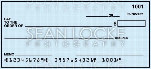 Check: Custom Made Blank Check Stock Photography Content by Sean Locke