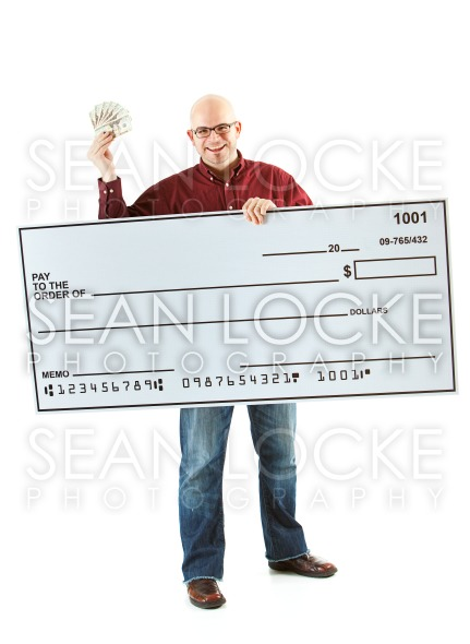 Check: Happy Man with Huge Blank Check Stock Photography Content by Sean Locke