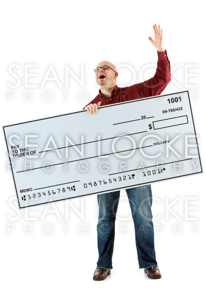 Check: Man Yells to Sky About Check Stock Photography Content by Sean Locke