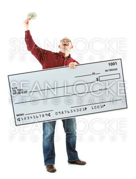 Check: Man Yells with Handful of Cash Stock Photography Content by Sean Locke