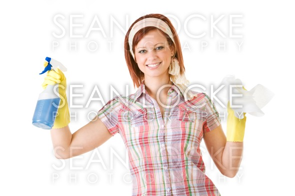 Cleaning: Standing with Spray Bottle and Towel Stock Photography Content by Sean Locke