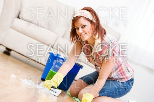 Cleaning: Spring Cleaning and Scrubbing the Floor Stock Photography Content by Sean Locke