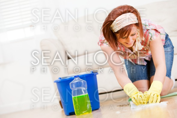 Cleaning: Using Soapy Water to Scrub the Floors Stock Photography Content by Sean Locke