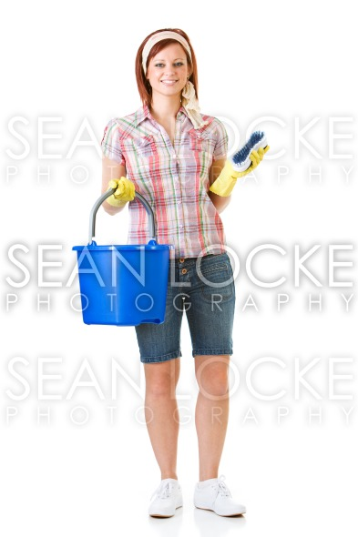 Cleaning: Woman with Bucket and Brush Ready to Clean Stock Photography Content by Sean Locke