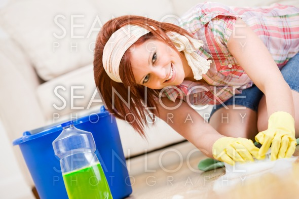 Cleaning: Fun to Spring Clean the Floors Stock Photography Content by Sean Locke