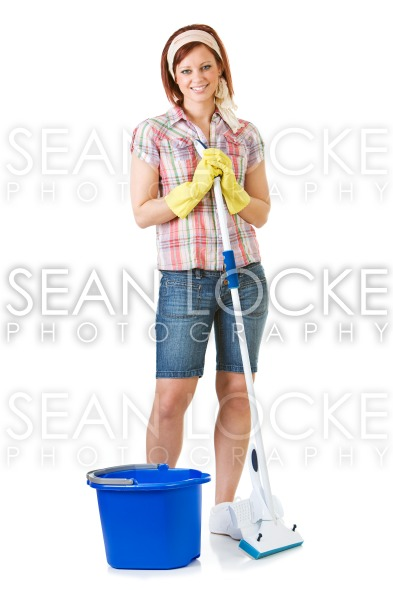 Cleaning: Maid Has Mop and Ready to Clean Stock Photography Content by Sean Locke