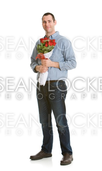 Valentine: Man Holding Valentine Bouquet Stock Photography Content by Sean Locke