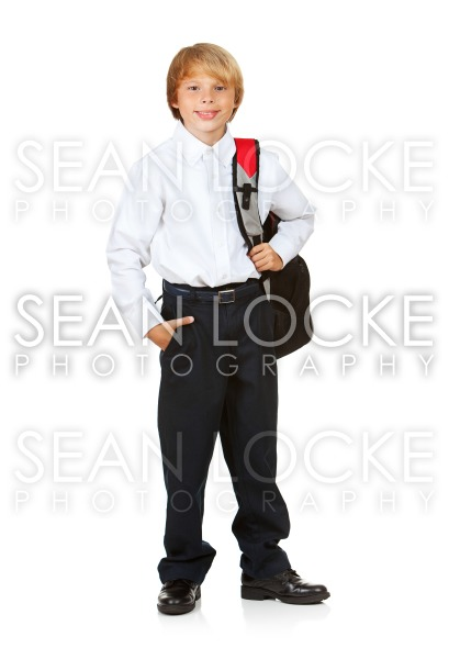 Student: Boy with Backpack and Hand in Pocket Stock Photography Content by Sean Locke