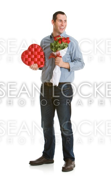 Valentine: Man Glancing to Side while Holding Valentine's Gifts Stock Photography Content by Sean Locke