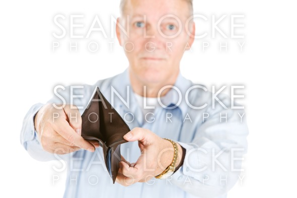 Seniors: Annoyed Man With Empty Wallet Stock Photography Content by Sean Locke