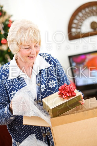 Christmas: Woman Ready To Ship Holiday Gifts Stock Photography Content by Sean Locke