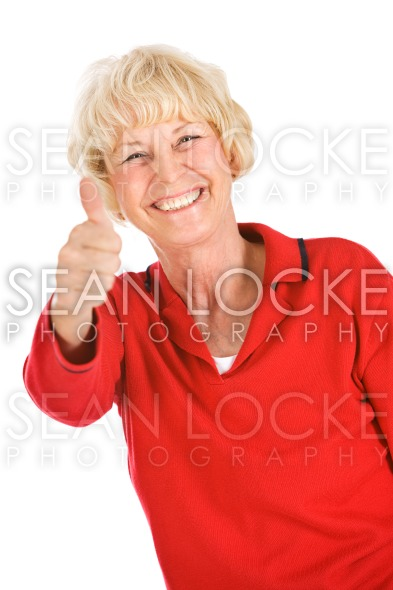 Seniors: Senior Woman Gives Thumbs Up Stock Photography Content by Sean Locke