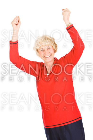 Seniors: Woman Cheering With Hands In The Air Stock Photography Content by Sean Locke
