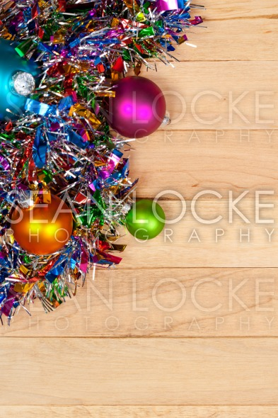 Christmas: Garland and Ornament Background Stock Photography Content by Sean Locke