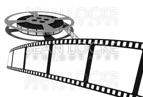 3d: Movie Film Spooling off of Reel Stock Photography Content by Sean Locke