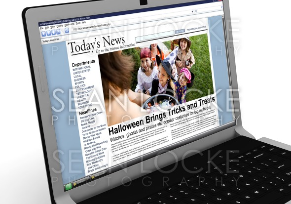 3d: News Story on Laptop: Kids Trick or Treating on Halloween Stock Photography Content by Sean Locke