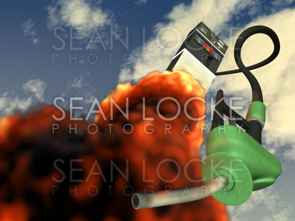 3d: Gas Pump Shooting Like a Rocket Stock Photography Content by Sean Locke