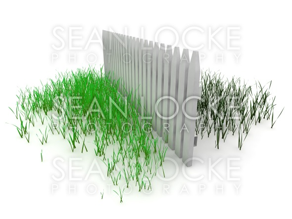 3d: Grass is Always Greener on the Other Side of the Fence Stock Photography Content by Sean Locke