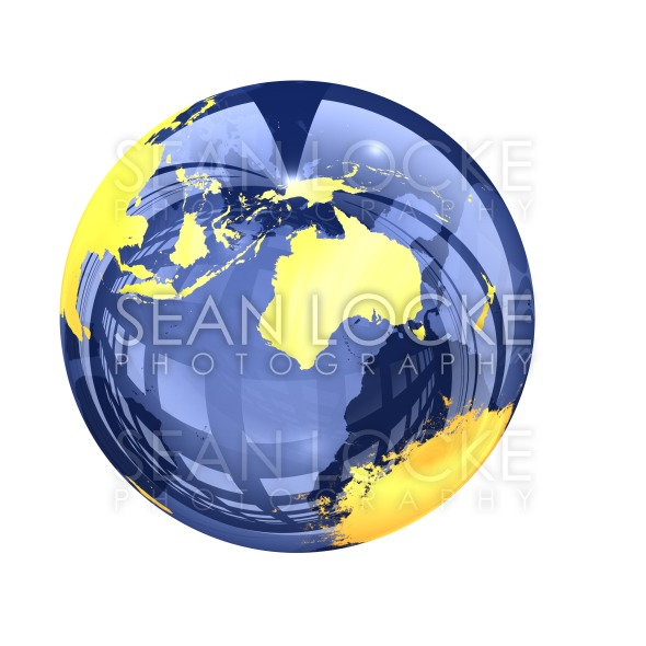 3d: Glassy Earth Globe View of Australia Stock Photography Content by Sean Locke
