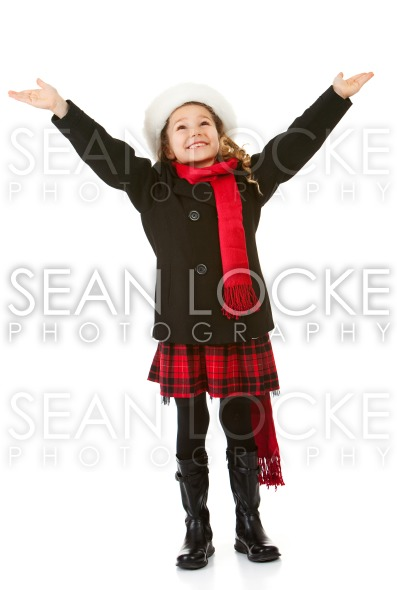 Winter: Girl Wishing For Snow Stock Photography Content by Sean Locke