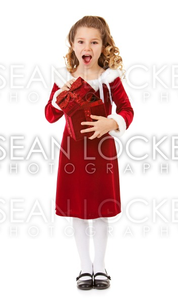 Christmas: Excited Santa Girl With Special Box Stock Photography Content by Sean Locke