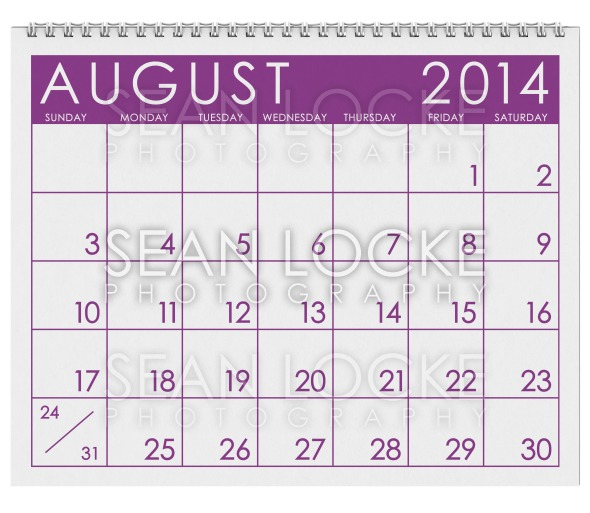 2014 Calendar: August Stock Photography Content by Sean Locke