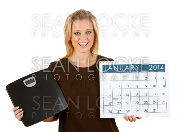 2014 Calendar: Woman Excited To Diet In January Stock Photography Content by Sean Locke
