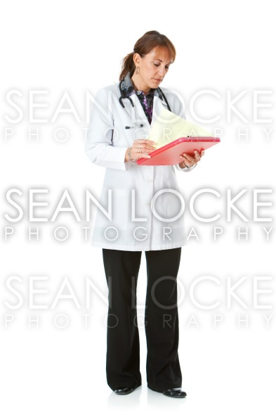 Doctor: Doctor Reads Information on Clipboard Stock Photography Content by Sean Locke